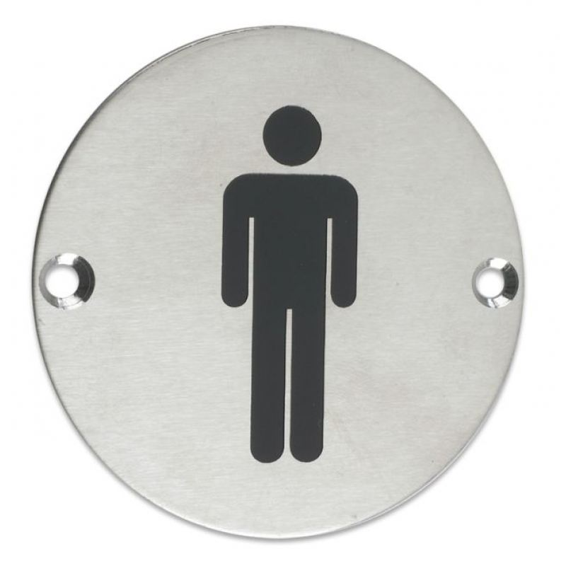 Forte Male Toilet Sign Satin Stainless Steel 76mm