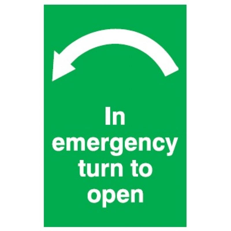 In Emergency Turn To Open Arrow Left Green Sign Ac Leigh