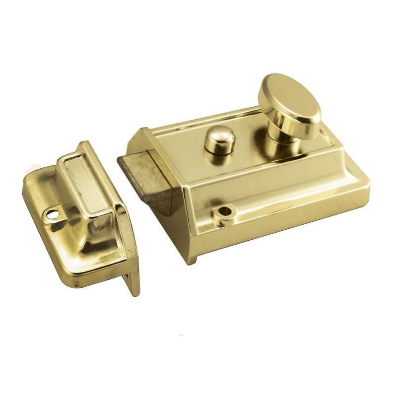 Rim Cylinder Nightlatch Traditional 60mm Polished Brass